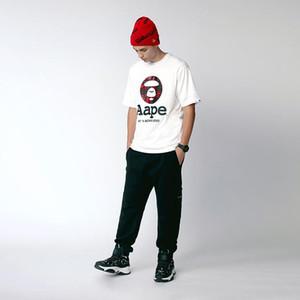 Compras libres! 2020 nueva primavera y el otoño de moda AAPE diseño de impresión hombres y mujeres de manga corta camisetas blanco y negro M ~ 3XL