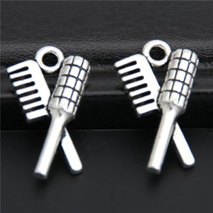 200pcs Silver Color Hair Comb And Brush Charms Stylist Pendant DIY Jewelry Findings A2862