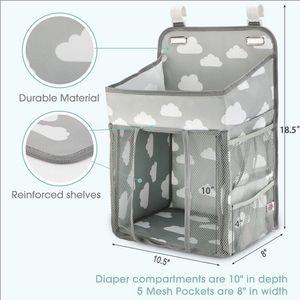Hanging Foldable Baby Bed Organizer Nursing Storage Bag Holder Diaper Stacker Portable Dual Layer Gift Multi Function Home