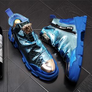 Mode Holographic Casaul Boots-Seiten-Reißverschluss Slip-on-Stiefel der Männer Knöchel weiches echtes Leder Mann Stiefel Schuhe 6 # 20 / 20D50