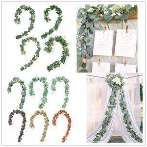 2M 웨딩 장식 인공 장미 등나무 인공 가짜 식물 아이비 화환 벽 장식 수직 정원과 녹색 유칼리 나무 덩굴 식물