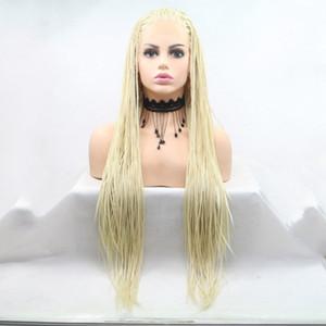 Freies Verschiffen Hellblonde Flechtenhaar Synthetische Lace Front Perücken Für Frauen Hitzebeständige Faser Haar Cosplay Perücken Premium Braid Perücke Für Frauen