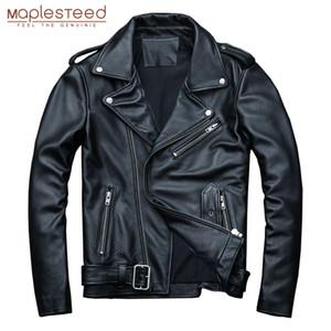 MAPLESTEED classique Motocycle Vestes homme Veste en cuir 100% veau naturel peau épaisse Moto Veste Homme Manteau d'hiver cycliste M192 Y200109