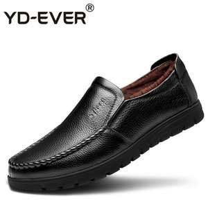 YD-EVER chaussures d'hiver hommes appartements chaud fourrure Slip on Casual chaussures hommes hiver cuir Mens casual