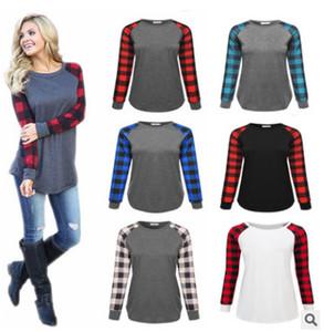 S-5XL Plus Size Plaid Panel Raglan Long Sleeve T-shirt Women Ladies Spring Autumn Winter Patchwork Sweatshirt Loose Blouse Shirt Top Tees