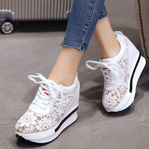 Hot Sale-Women Wedge Platform Lace Mesh Spring Sneakers Lace Up Casual Height Increase Shoes Ladies Fashion