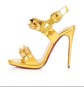 Hembras verano sandalias de tacón de aguja Nueva moda 2 hebilla de color sandalias de las mujeres Zapatos de boda de fiesta de cuero genuino con caja