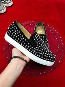 Chaussures de haute qualité cloutées SuedeLow Top Red Bottom Sneakers Louisflats Hommes, Femmes Casual Chaussures à roulettes pour Hommes - Dust Bag, Box