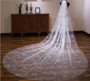 4 Метров собор Veil для свадебного платья игристые Satrs свадебное платье белого цвета слоновой кости мягкого тюля Ivory шампанского Тюль один слой с расческой