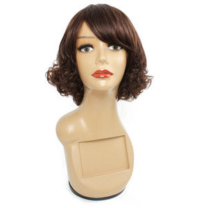 Renk 4 koyu kahverengi kapaksız peruk 12 inç kıvırcık Brezilyalı Hint Perulu Malezyalı insan saçı peruk