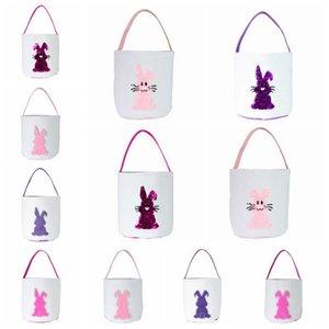 Пасхальный заяц сумки Блестки Easter Rabbit Bucket Дети Egg Конфеты Корзина Блеск Подарки Конфеты Корзины Barrel ToteFestivalPartyHandbags LQPB7388