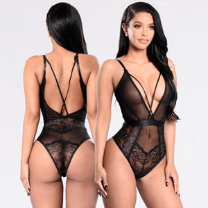 Womens Stretch Body senza maniche Lingerie Lace Body Top Backless Tuta Sexy Babydoll G-String Dress Ladies Underwear Lingerie Lingerie