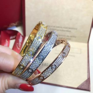 Wedding Engagement Women Bracelet Pseudo Gold Wide Edition LOVE Diamond Bangle Bracelet luxe for Banquet Jewelry
