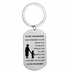 12 Adet / grup Charm Büyükanne Torunu Aşk Erkek Aile Için Büyükanne Anahtarlık Köpek Etiketi Paslanmaz Çelik İlham Hediyeler
