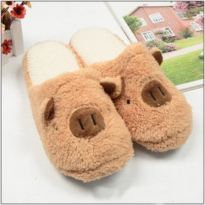 2020 Winter Slippers for Women Lovely Cartoon Pig Soft Sole Plush Home Shoes Couple Man Slippers Indoor House Shoes Pantuflas