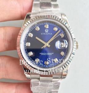 Мужские роскошные бриллиантовые наручные часы Automatic Cal.3235 Часы Мужские Перламутровый Циферблат Покрытие Платина Мужчины Сапфир Супер Дата Часы