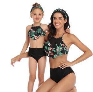 un pezzo del bambino genitore swiwear costume da bagno bikini costume da dividere bambini donne ragazze sexy bambini yakuda elegante flessibile Leopard Print insiemi del bikini