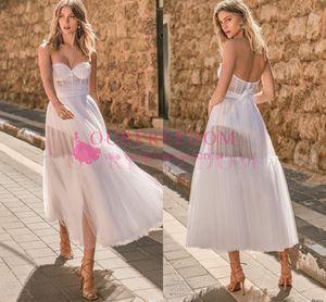 Berta 2020 Muse robes de mariée bustier une ligne souple Tulle thé longueur Boho robe de mariée Custom Made