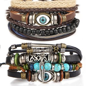 Evil eye multilayer bracelet adjustable leather weave wrap bracelet women mens bangle cuff fashion jewelry will and sandy fashion