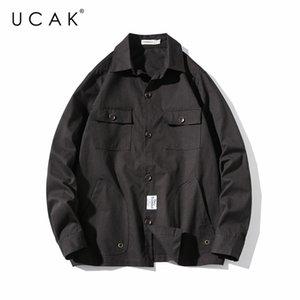 UCAK бренд мужской сплошной цвет с длинным рукавом 2020 человек корейский Моды письмо Харадзюку футболка мужчины уличной рубашки U6075