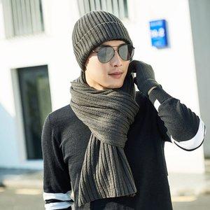 Yeni kış örme şapkalar Scarf 2 adet Seti erkek ve kadın Artı Kadife Kalınlaşmak Yumuşak Cap Eşarplar Sıcak gevşek wintercap