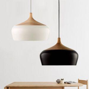 restaurante personalidad cubierta de la lámpara colgante simple sola lámpara cabeza salón nórdica barra de dormitorio de madera maciza de aluminio iluminación creativa