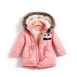 Herbst-Winter-Kind-Mädchen-warme starke Jacken mit Pelzmütze Kinder Parka 90% Baumwolle Füllung Mädchen Outdoor-Jacken