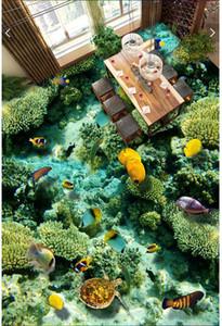 3d pvc flooring custom photo Waterproof Self-adhesive floor sticker Marine world fish coral living room home decor wallpaper for walls 3 d
