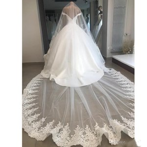2019 Allık Düğün Veils Katedrali Uzunluğu Gelin Veils Dantel Kenar Aplike Payetli 3 m Uzun Ücretsiz Tarak Ile Özelleştirilmiş