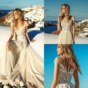 2020 Nueva ligera de verano Champagne boda vestidos de playa de Boho del cordón de la gasa una línea Apliques largo vestidos de novia del traje de mariee