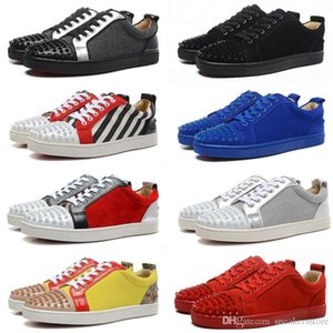 2019 Designer Sneakers Red Bottom Low Cut Suede Spikes Flats Shoes Women men Leather Luxury Casual Shoes Sport With Box Dust Bag