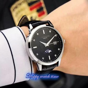 High version 5396G-011 Black Dial Silver Steel Case Japan Miyota 8215 Automatic Movement 5396G-011 Mens Watch Leather Strap Business Watches