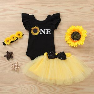 Summer Infant Newborn Baby Girls Clothes Sunflowers Printed Sleeve Romper Bow Tulle Skirt Princess Headband Set Outfits#P4