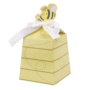 50pcs Lot Cute Baby Shower Favor Cartoon Honey Bee Paper Candy Box Adorable Kids Birthday Party Decor Newborn Baby Gifts Decorat