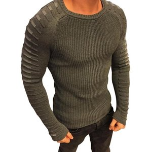 Los hombres ocasional otoño Sewater ajuste de punto de la manga remiendo largo plisado suéter masculino sólido elástico atractivo delgado de invierno suéteres Ropa M-3XL
