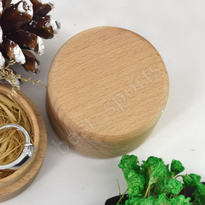 Ring Box madeira de faia redonda pequena caixa de armazenamento retro para o casamento Natural de madeira Jóias Caso ZZA1360