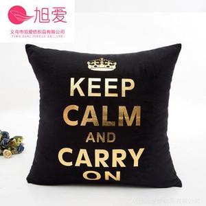 Las hojas de oro negro Cojín Brozing hoja de oro Cojín decorativo Almohada Decoración Throw Pillow Almofadas Decorativas Para Sofá