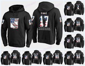 24 Kaapo Rangers Kakko USA Drapeau Hoodie noir Maillots 10 Artemi Panarin 17 Jesper Fast 50 Lias Andersson 72 Filip Chytil Sweat-shirts