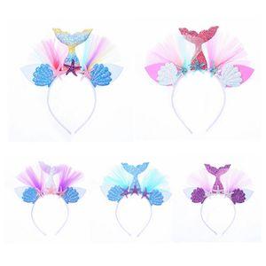 Girls Mermaid Headbands Mesh Flower Shiny Hair Sticks Kids Children Beach Party Birthday Party Headdress HHA1313
