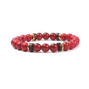 Il pop americano ed europeo Perle semipreziose Linea elastica ad anello singolo Bordo incrociato nuovi prodotti Bracciale con perline turchese rosso