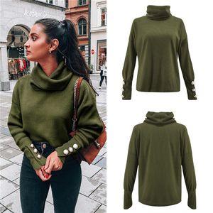 Femmes Casual desserrées Knits Tops Mode couleur unie Haut Bouton cou manches tricot T-shirts Nouveau Vêtements pour femmes Automne
