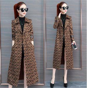 Fashion- 여성 트렌치 코트 슬림 여성 F-문자 롱 재킷과 코트 외투 더블 브레스트 트렌치 코트 여성 방풍 겨울 겉옷