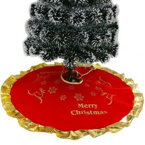 2020 Nueva festivas o de fiesta del árbol de navidad Imprimir falda Mat soporte de la cubierta Alfombra partido casero rojo del corazón delantal de Navidad