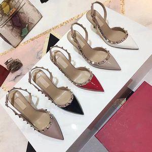 2019 yüksek kalite Son sıcak bayanlar perçin yüksek topuk Sandalet yaz ayakkabı lüks tasarımcı moda Slingback sandalet Pompalar Büyük boy 34-42