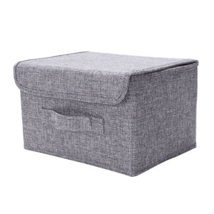 Cotton Linen Fabric Folding Cd Storage Boxes Foldable Bins Toys Organizer With Lids And Handles Storage Basket Laundry Basket