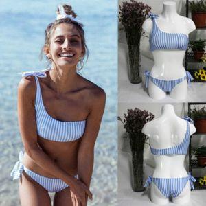 New Women Padded Push-up Bikini Set Stripe Swimsuit For Female Bathing Suit One Shoulder Swimwear Beachwear