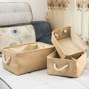 Folding Cesta de armazenamento dobrável linho Caixa de armazenamento Bins Tecido Organizer Organizar Escritório Quarto Closet Brinquedos cesta de lavanderia