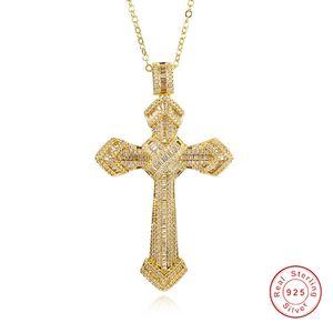 Lüks Takı Hıristiyanlık Çapraz Kolye sona elmas boyama tam Gerçek 925 gümüş 14 K altın Hip hop Kolye kadın erkek Için