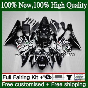 Body blanco negro para YAMAHA YZF R 6 YZF 600 YZF-600 YZFR6 06 07 Bastidor 90MF21 YZF R6 06 07 YZF600 YZF-R6 2006 2007 Fairing Body Kit