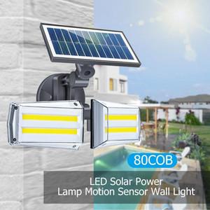 Giratorio Microondas LED luces solares de doble cabezal solar ligero de la pared de la pared del jardín Luz al aire libre de la lámpara IP65 del movimiento de PIR lámpara solar del sensor